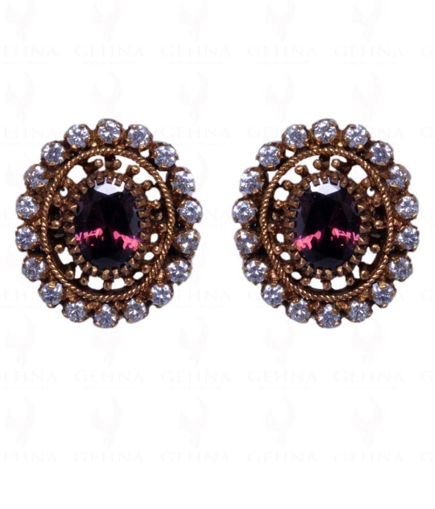 Pink Tourmaline & Cubic Zircon Studded Antique Finish Earrings