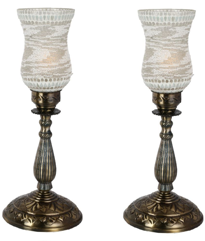 Afast Exclusive Glass And High Quality Metal Stand 55 Metal Table Lamp   Pack of 2