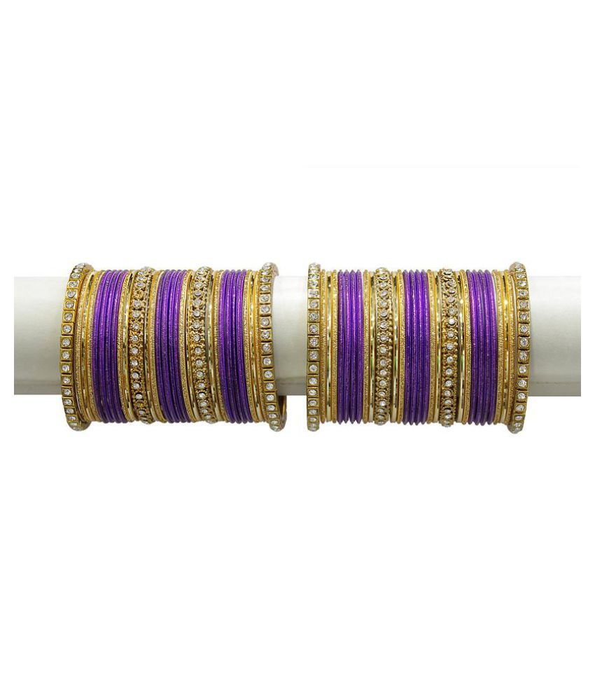 MUCH MORE Elegant Dark Purple Colour Bangles Set with Crystal Stone