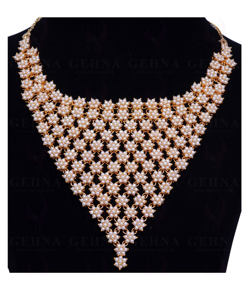 WEDDING JEWELRY - FRESH WATER PEARL STUDDED FULL NECKLACE & EARRING SET