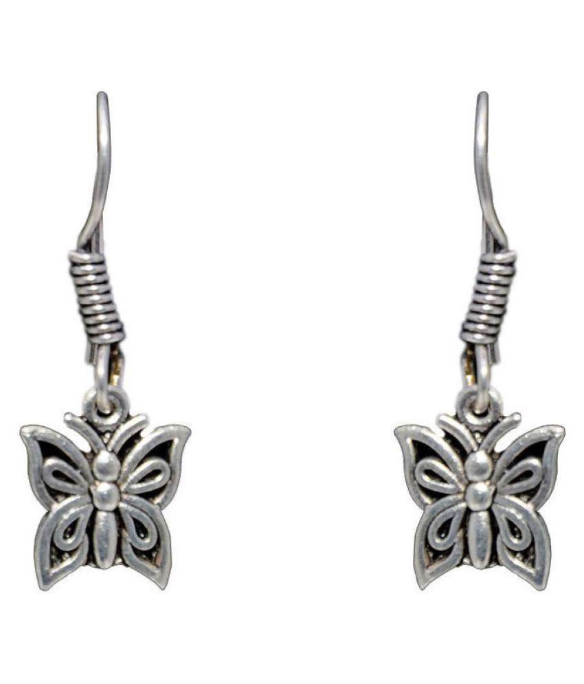 Butterfly Shaped Dangle Earring In .925 Silver Overlay