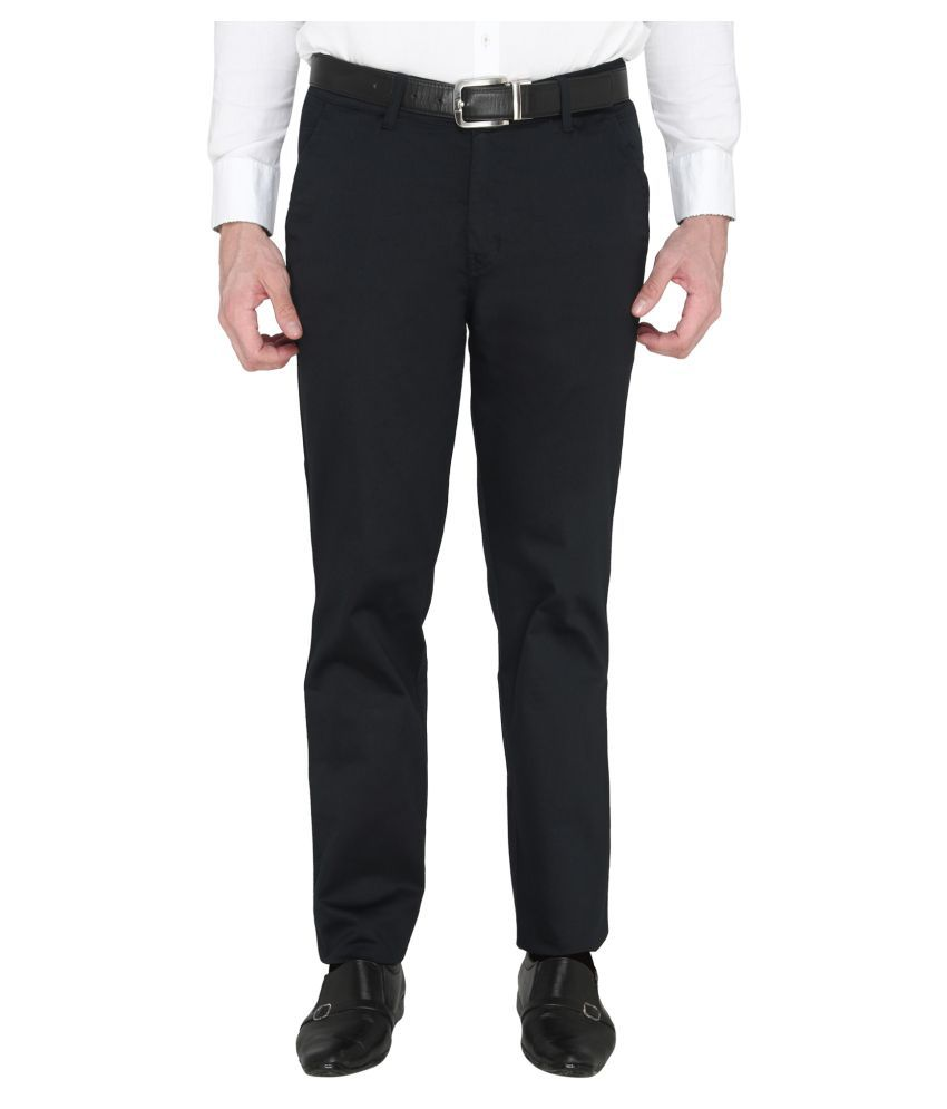 Zido Blue Slim -Fit Flat Trousers