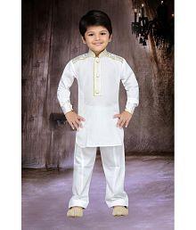 AJ Dezines White Kids Pathani Suit for Boys