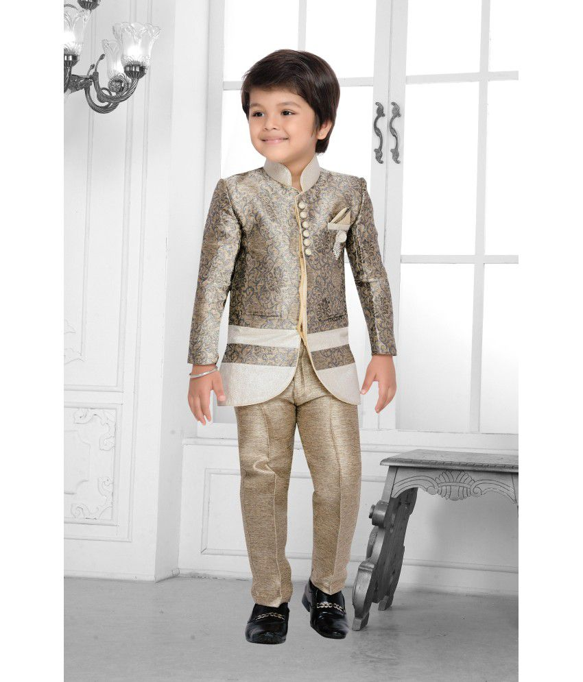 abb1ca101900 AJ Dezines Beige Silk Indo Western Boy Dress - Buy AJ Dezines Beige Silk Indo  Western Boy Dress Online at Low Price - Snapdeal