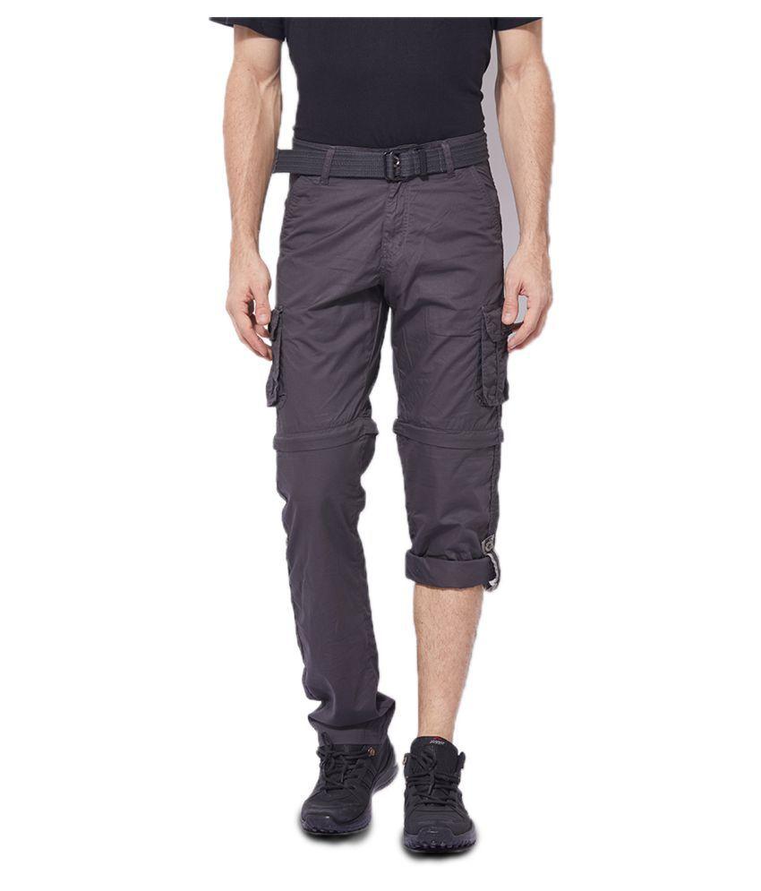 Byouth Grey Regular -Fit Flat Cargos