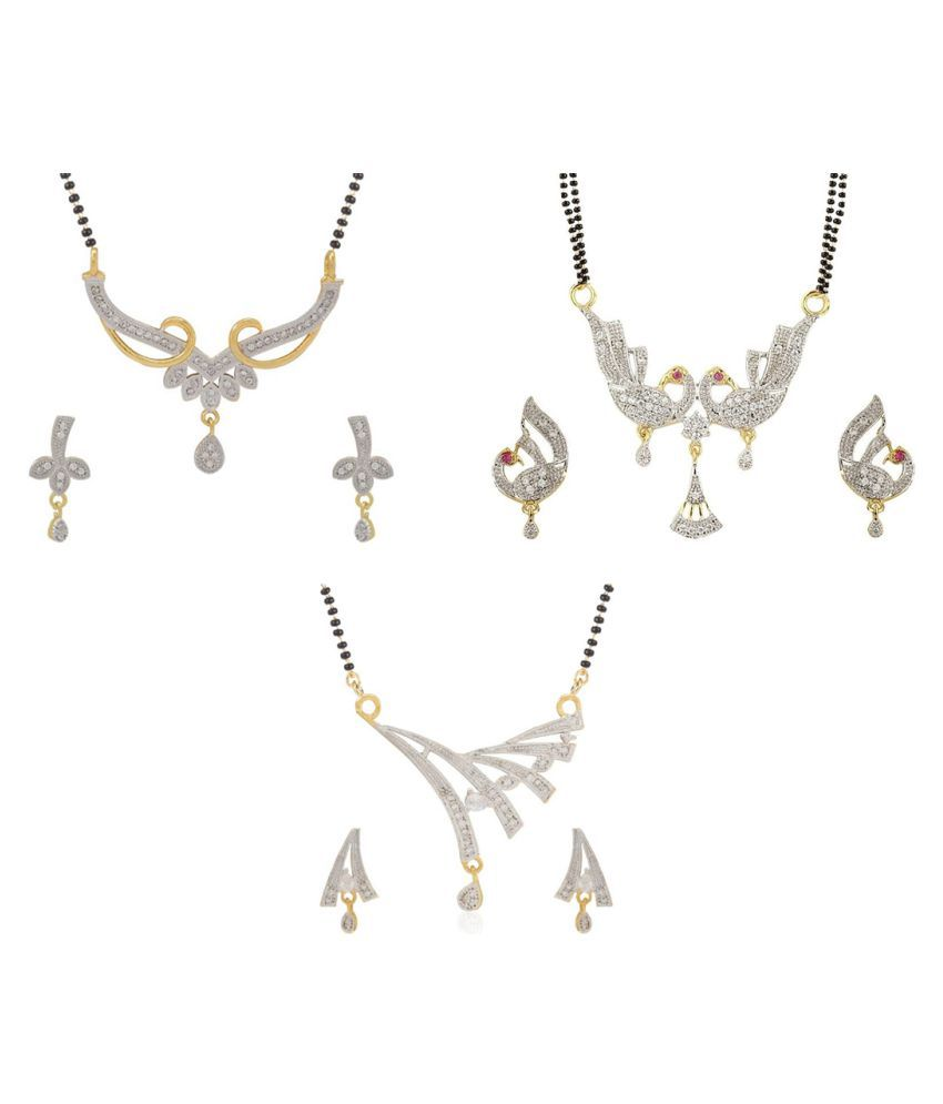 Aabhu Fashionable Combo of 3 Mangalsutra with Chain and Earrings Jewellery Set for Women