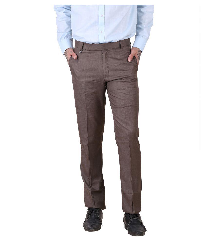 Lee Cox Brown Slim -Fit Flat Trousers