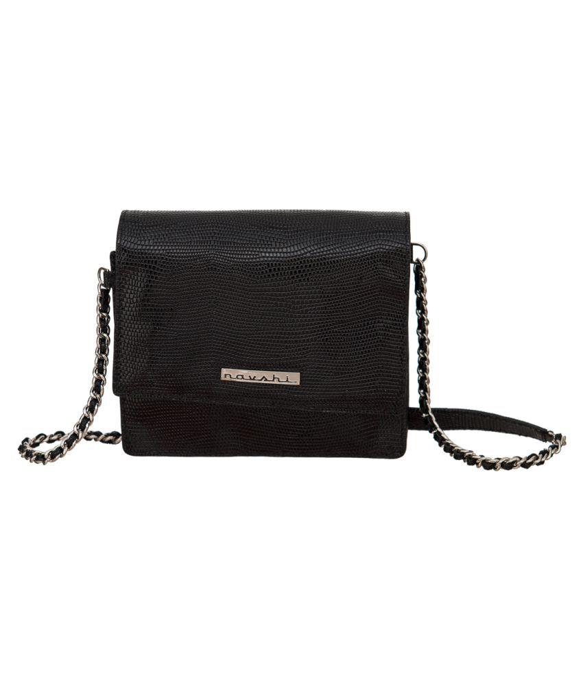 Navshi Black Pure Leather Sling Bag