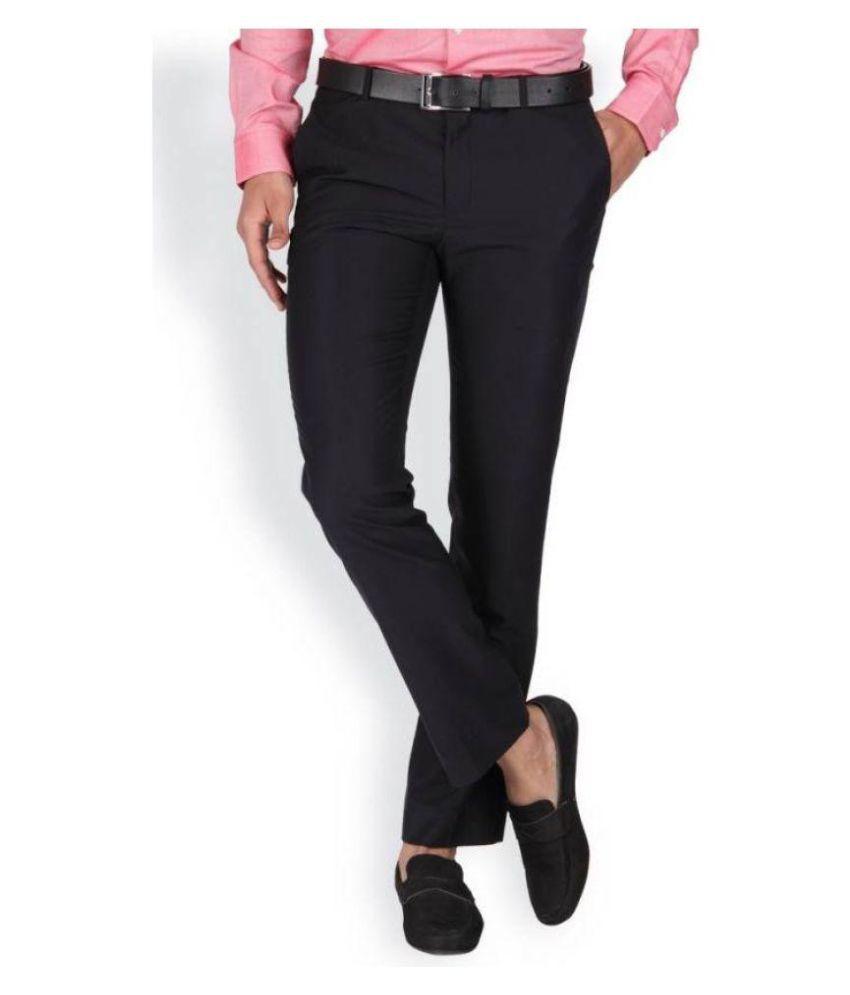 Singham Black Slim -Fit Flat Trousers