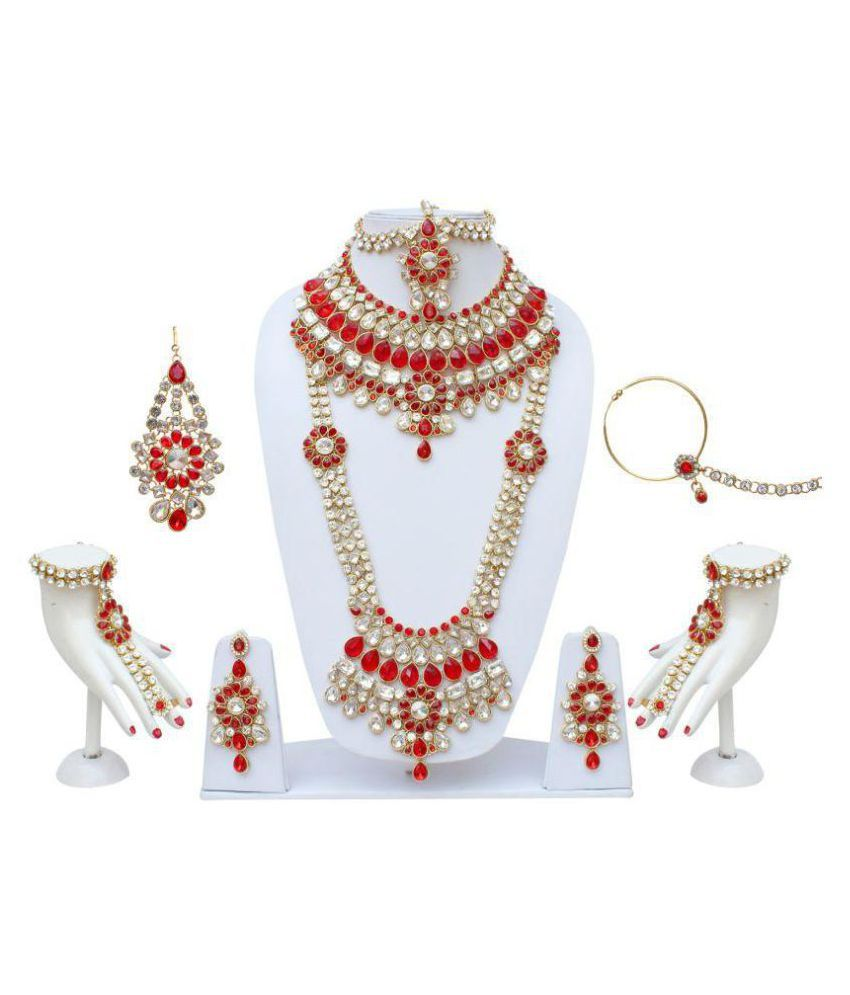 Lucky Jewellery Traditional Red Color Alloy Bridal Set For Women And Girls