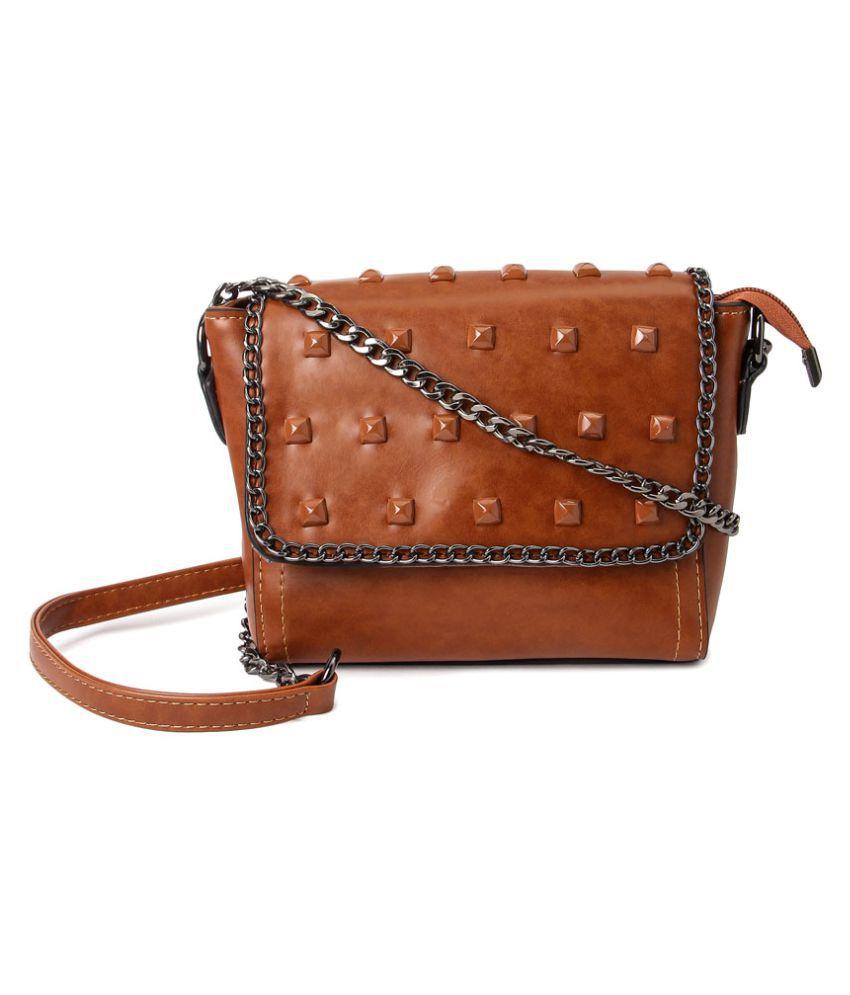 MACHLI Brown P.U. Sling Bag