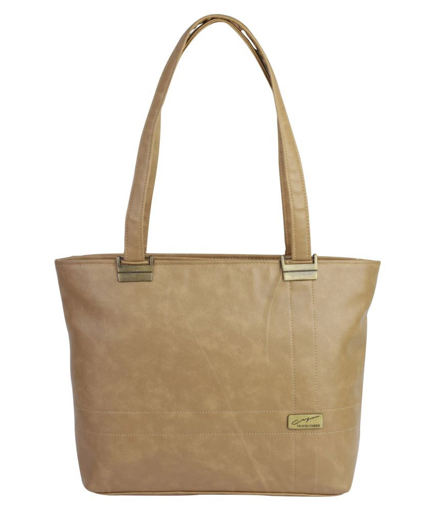 ROVEC Beige Faux Leather Shoulder Bag