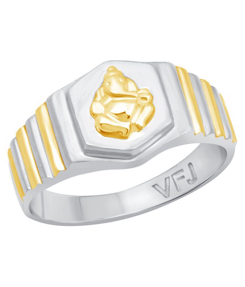 Vighnaharta Mangalmurti Plain Rhodium Plated Alloy Gents Ring for Boys and Men - [VFJ5026FRR20]