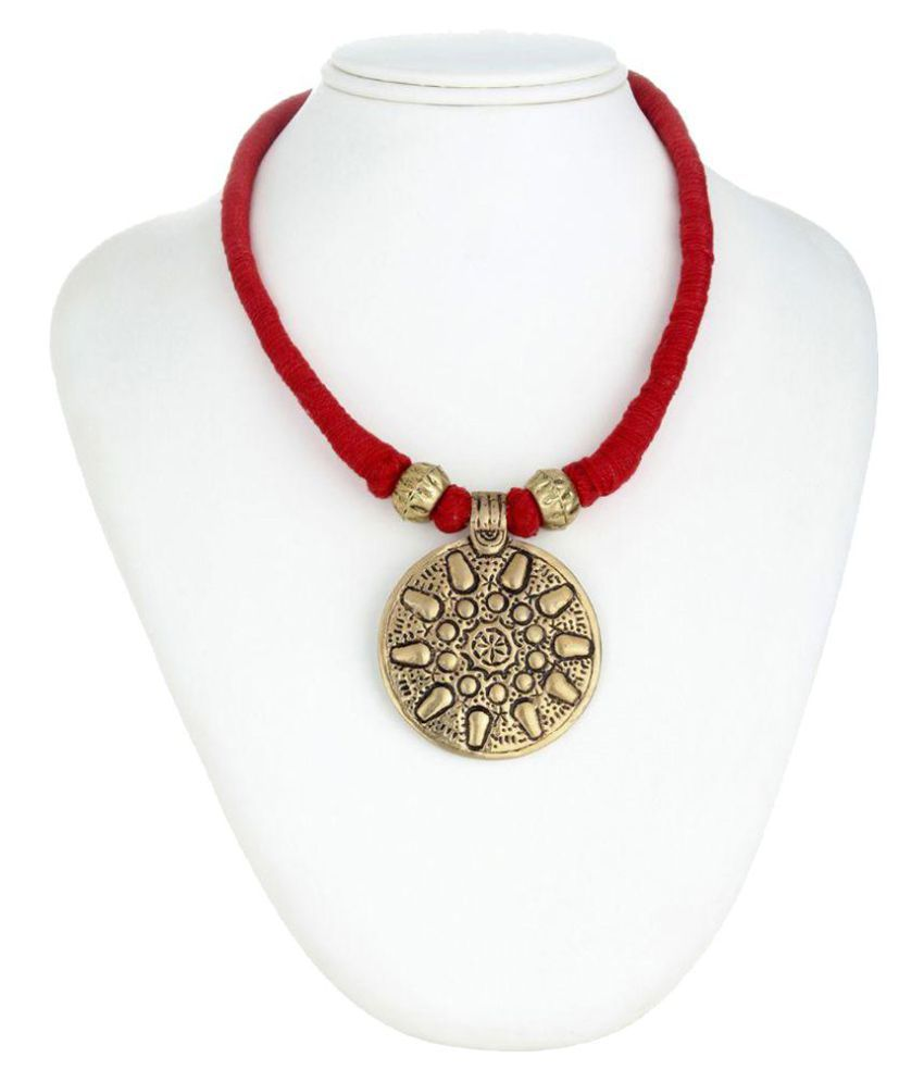 Tribes India Necklace Red Thread with Brass Pendant