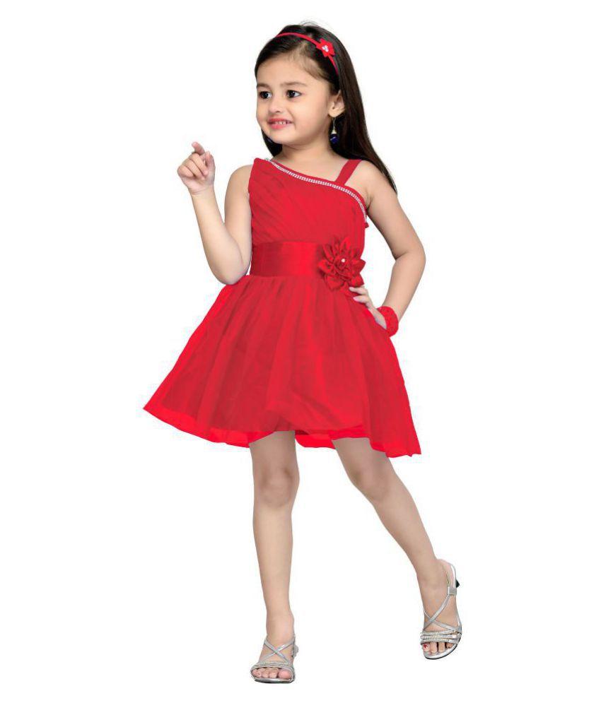 8409a2e2a Aarika Girl s Self design Premium Net Birthday Special Frock - Buy ...