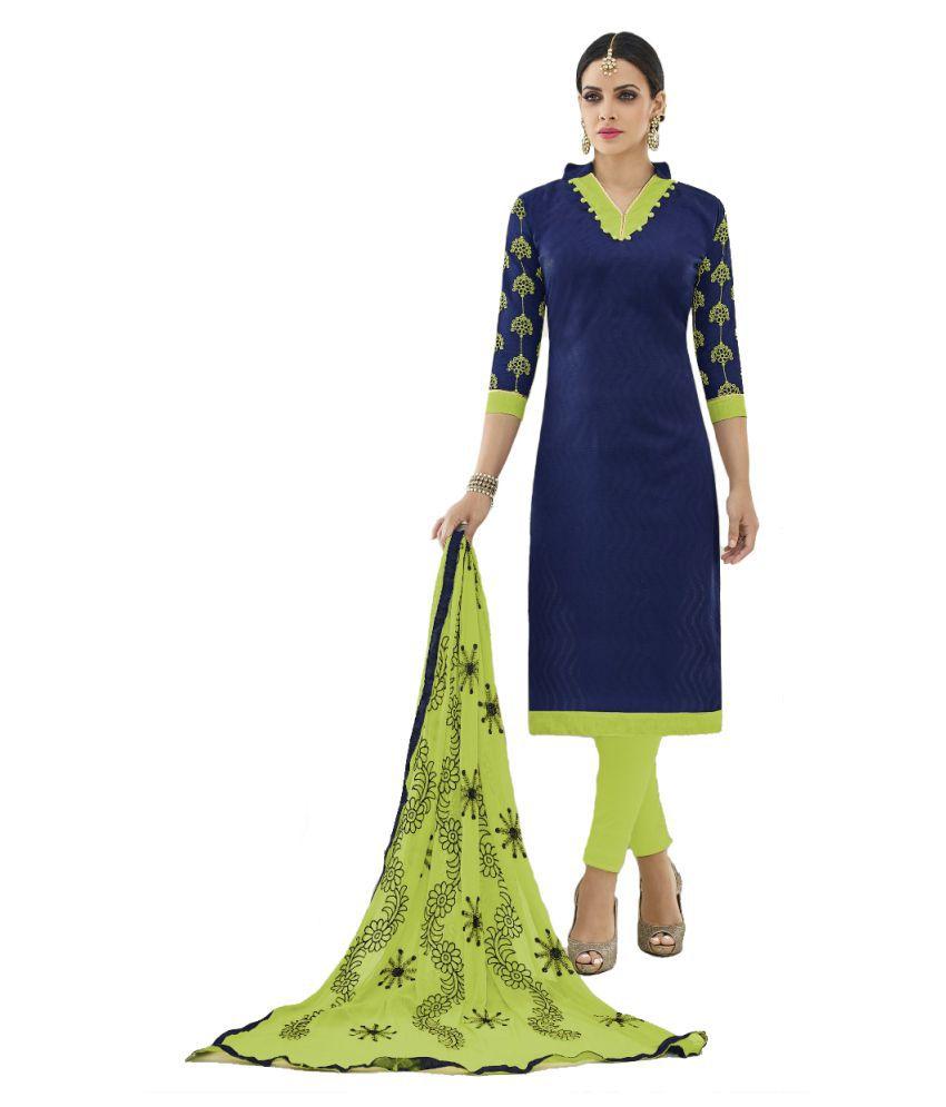 c0953fa4ec Shree Ganesh Retail Blue Cotton Dress Material - Buy Shree Ganesh ...