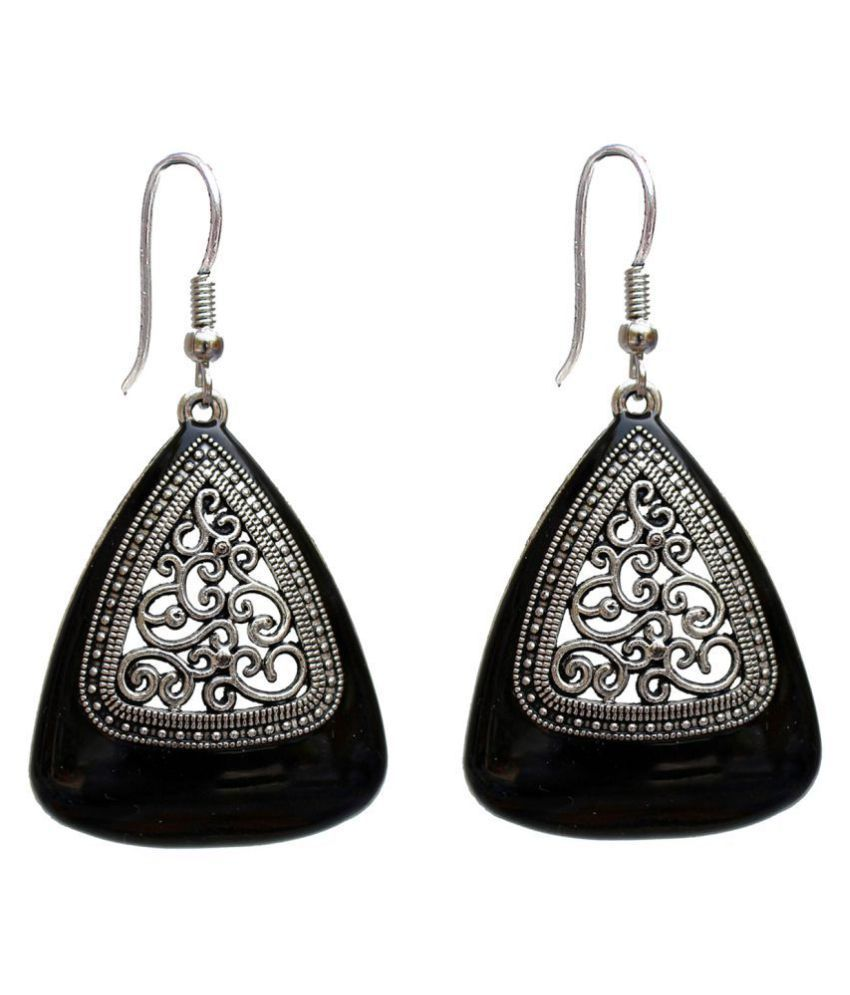 Lucky Jewellery Trendy Silver Oxidised Plating Black Color Earring For Girls & Women