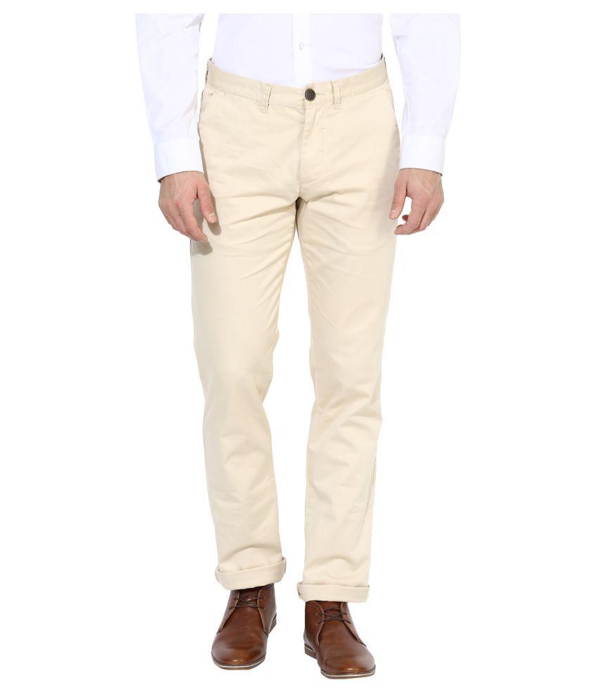 Red Tape Beige Slim -Fit Flat Trousers