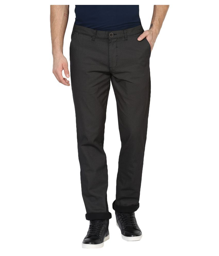 Red Tape Brown Slim -Fit Flat Trousers
