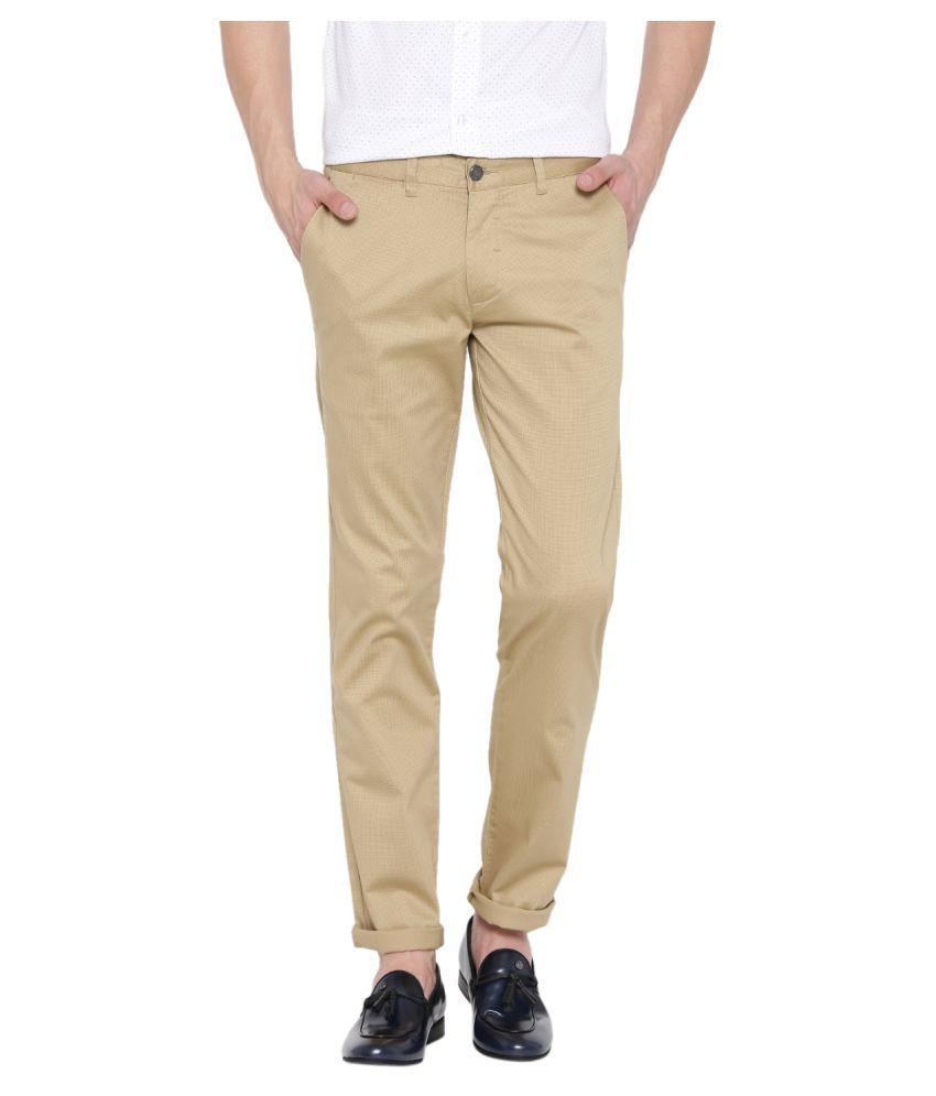 Red Tape Khaki Slim -Fit Flat Trousers