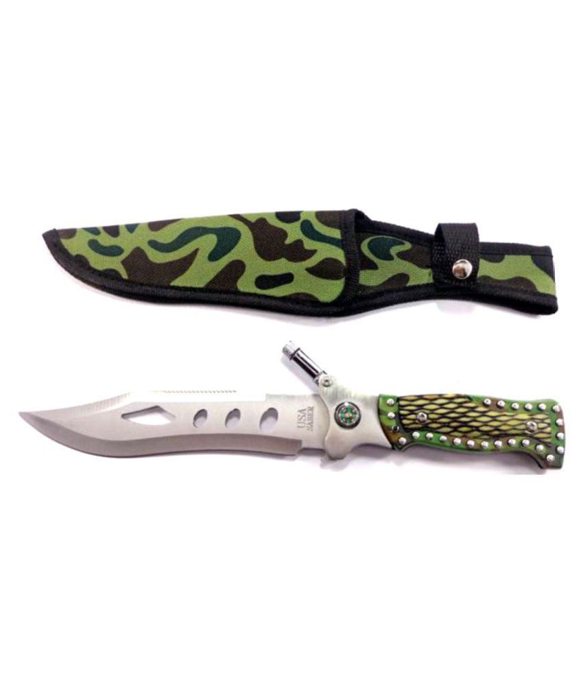 Prijam NM-08 Fixed Blade 29cm Outdoor Knife With LED Torch For Hiking Camping Survival
