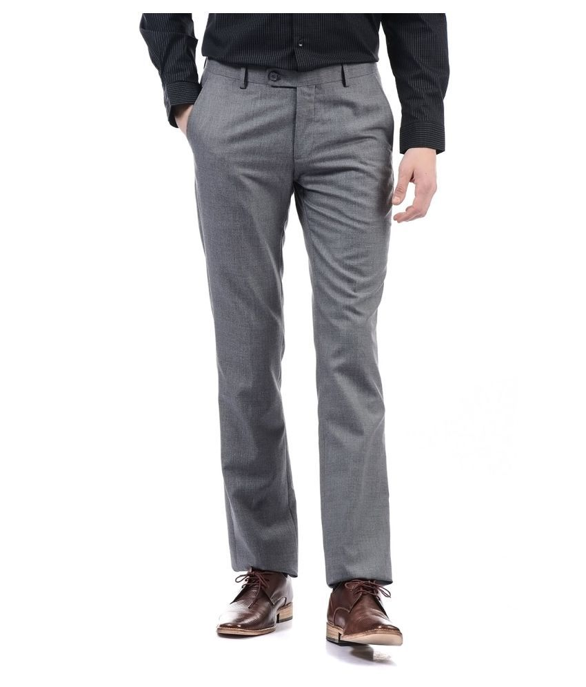 Arrow Grey Regular -Fit Flat Trousers