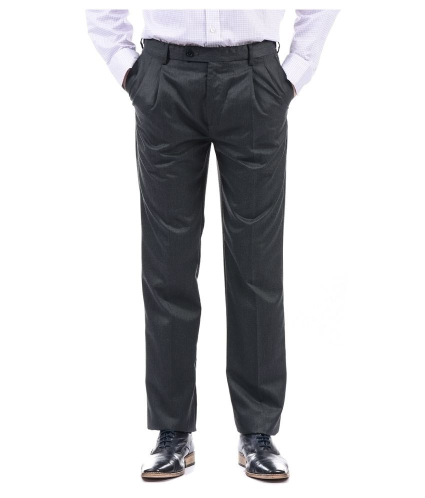 Arrow Grey Regular -Fit Pleated Trousers