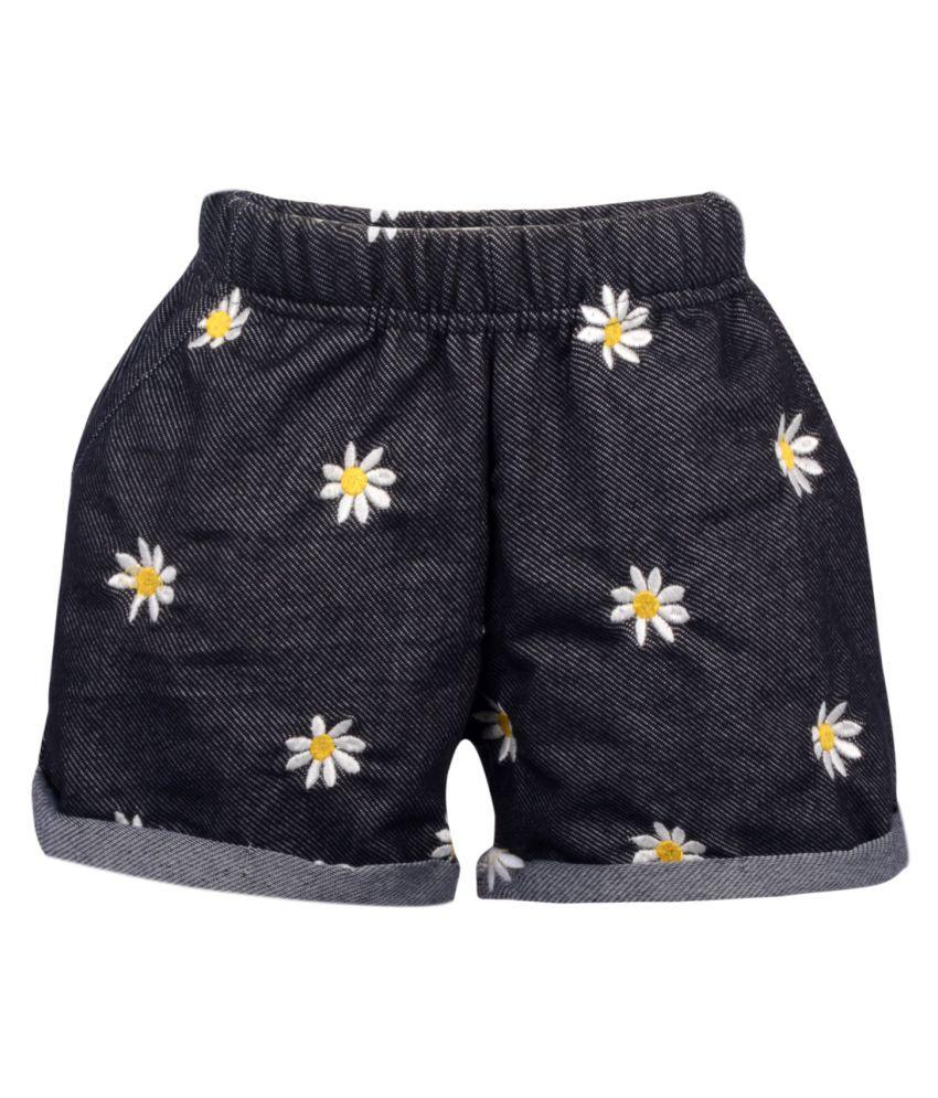 Teens Culture Girls Flower Embroidered Black Denim Shorts