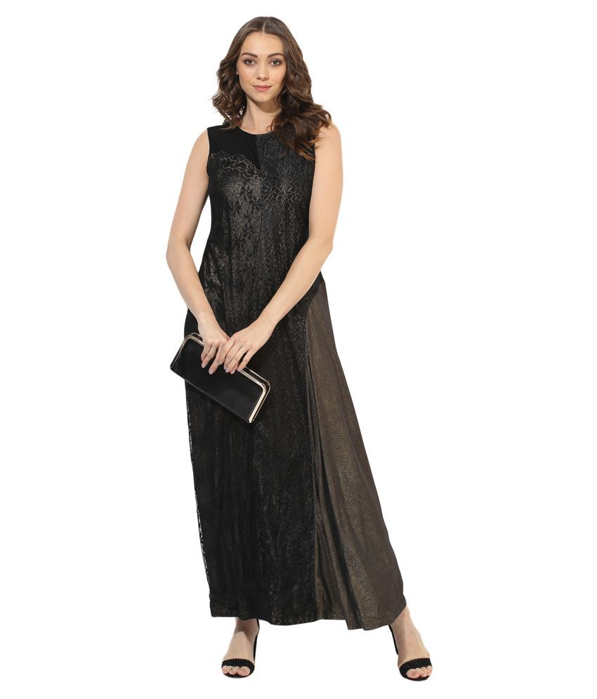 SOIE Polyester Black A- line Dress