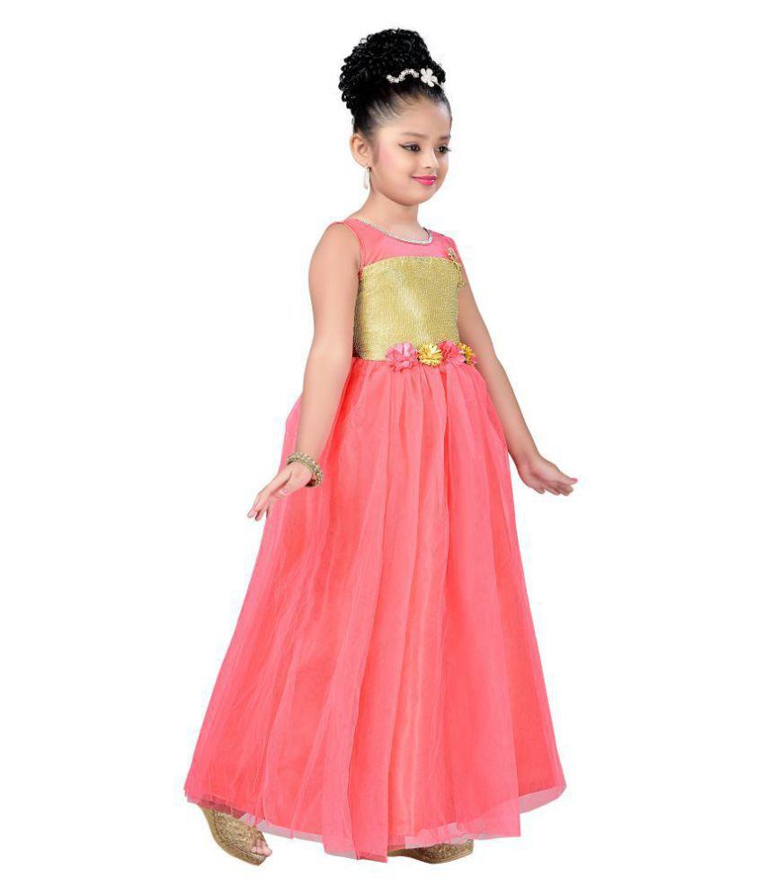 b7f179561 Aarika Girl s Self Design Net Fabric Party Wear Ball Gown - Buy ...