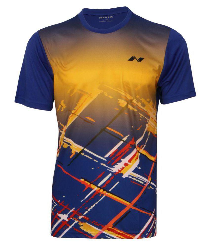 Nivia Navy Polyester T-Shirt
