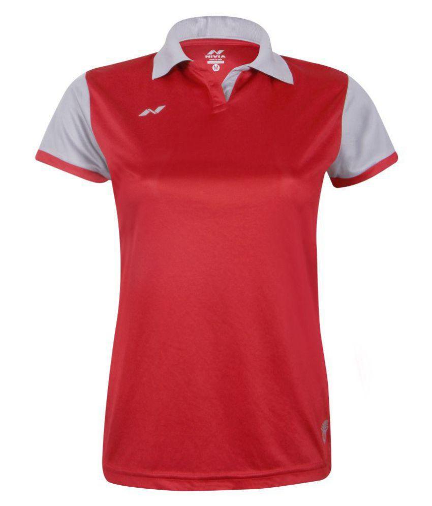 Nivia Polyester Red Polos-2218S4