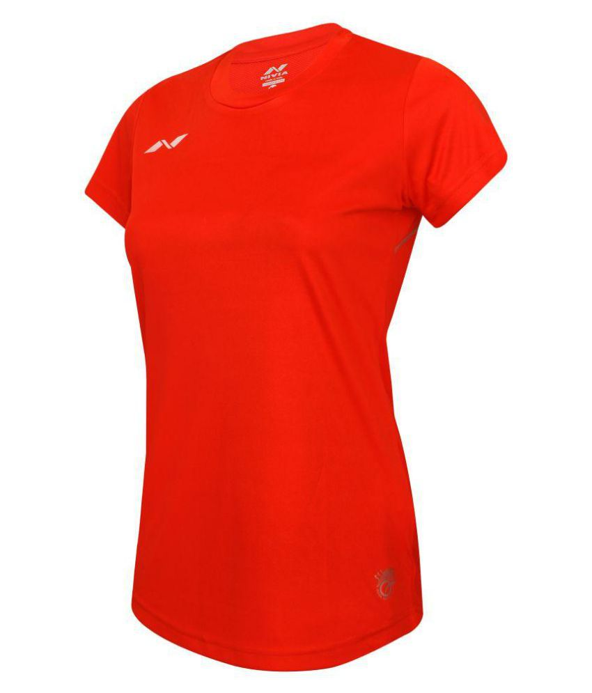 Nivia Polyester Red T-Shirts-2211S3