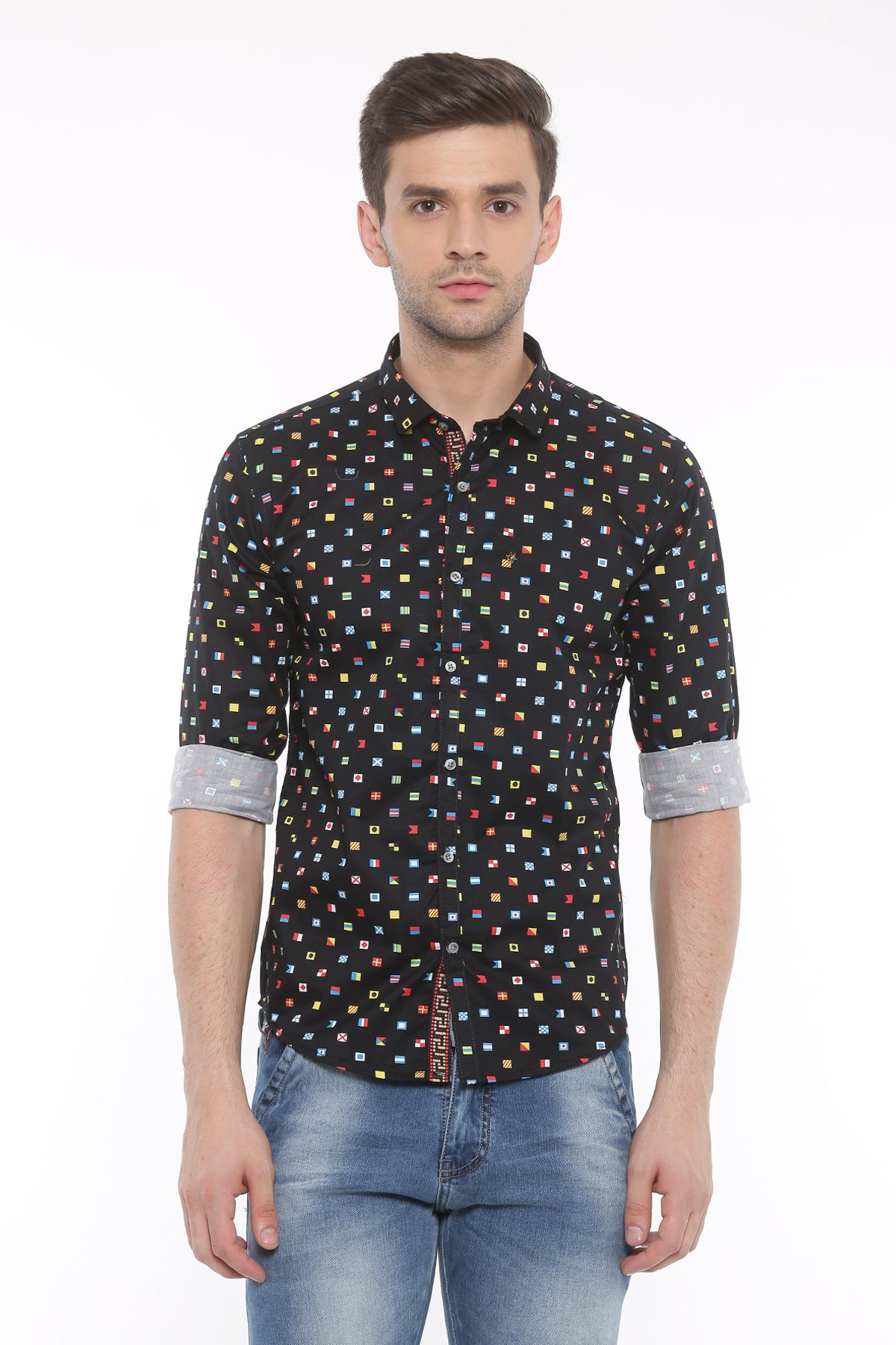 WITH Black Casual Slim Fit Shirt