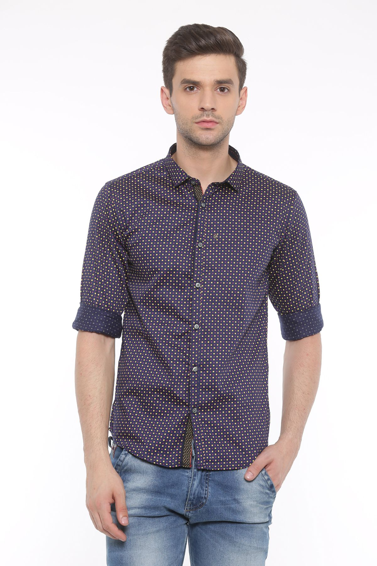 WITH Navy Casual Slim Fit Shirt