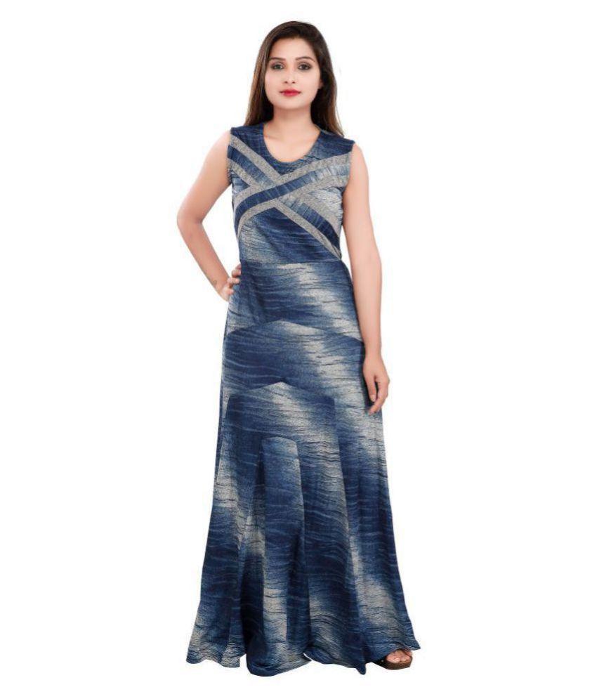 Carrel Cotton Lycra Blue Gown