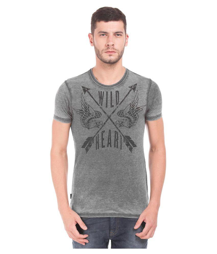 Ed Hardy Grey Henley T-Shirt