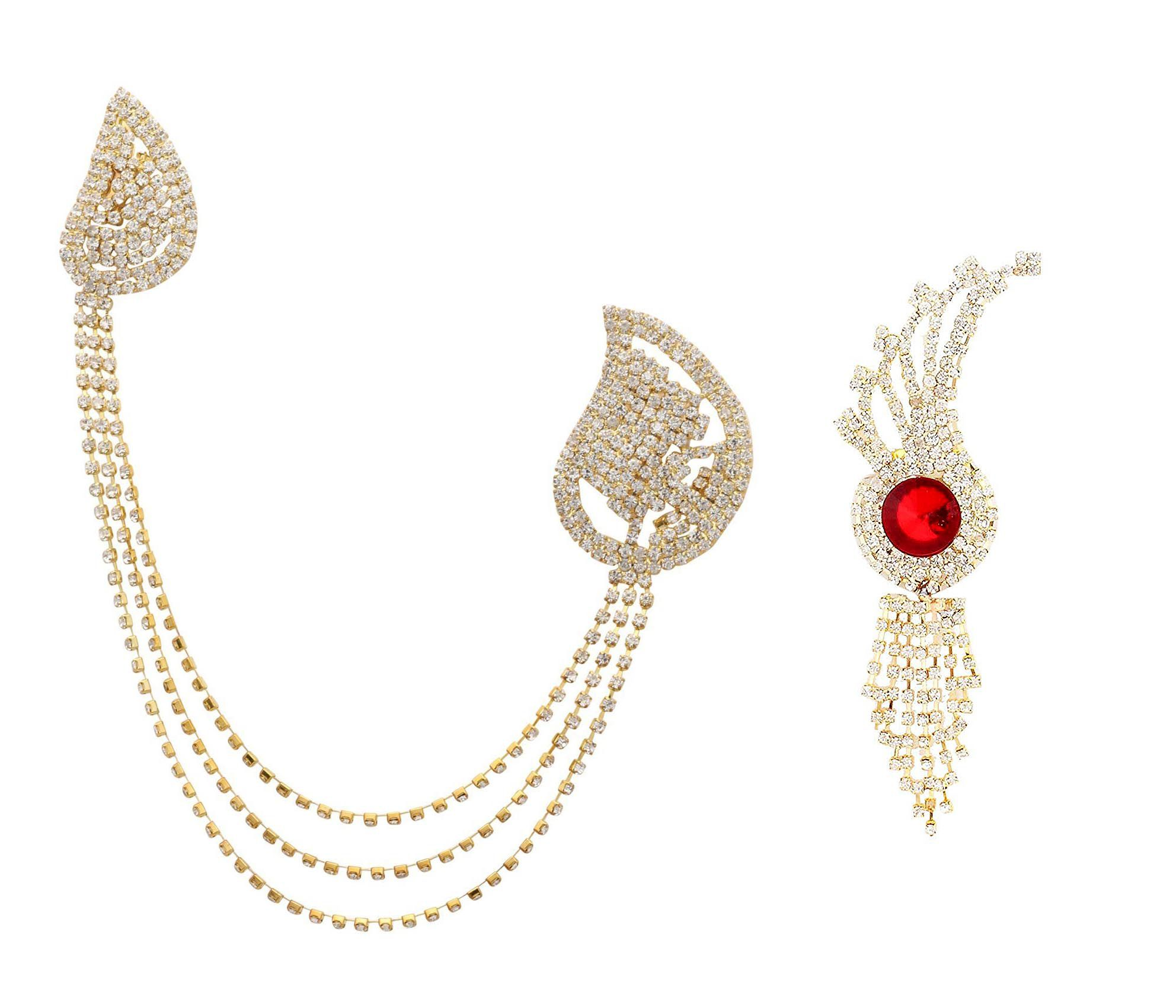 ZIUM New fashionable indian style Multicolor Brooch and Artificial Jewellery for Elegant Fashion of Men ( Pack of 2)