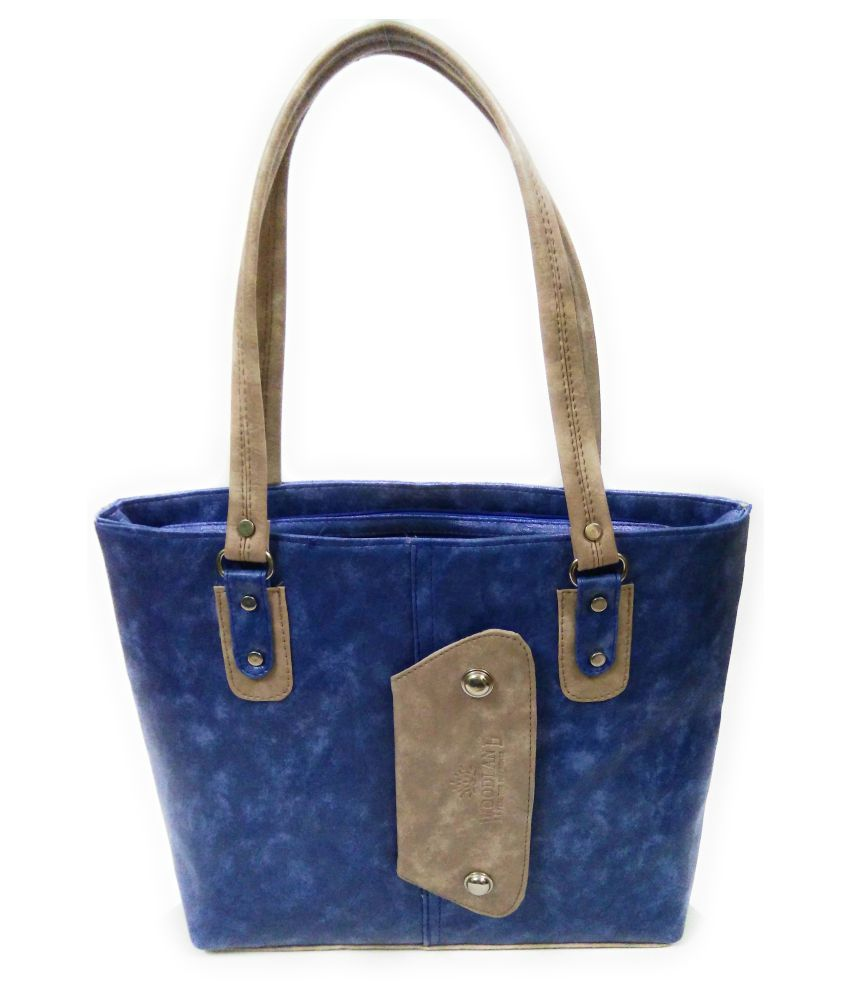 AZED Collections Blue Artificial Leather Shoulder Bag