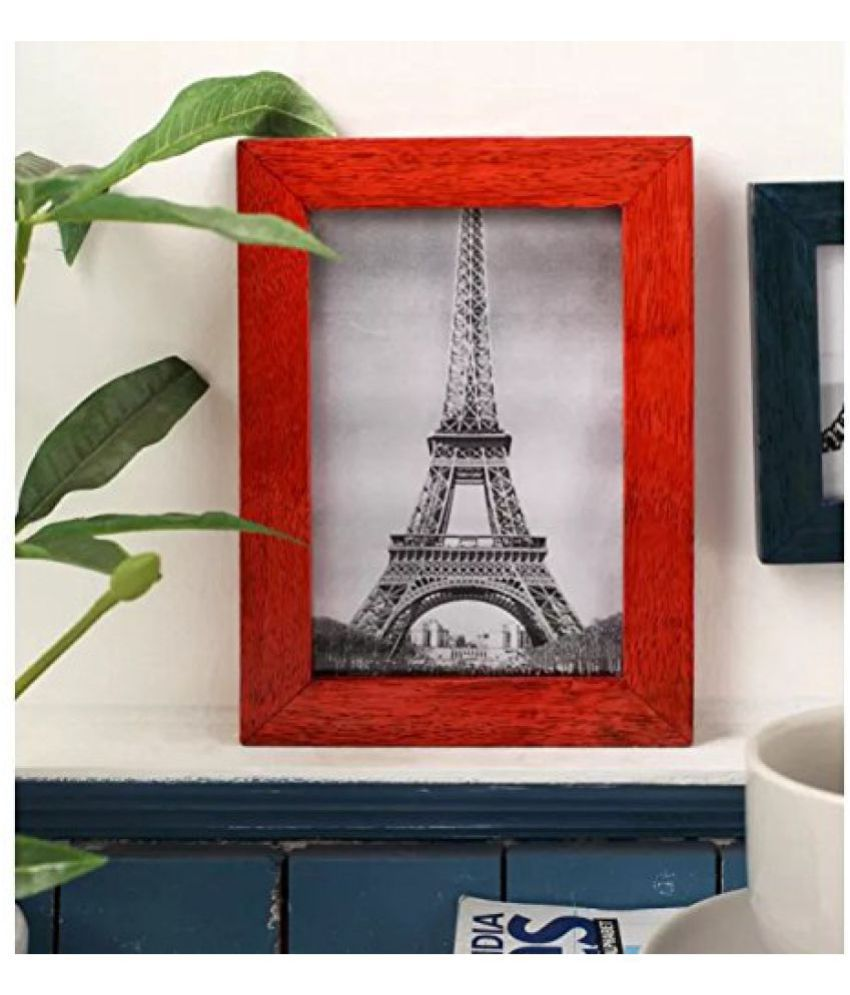 Onlineshoppee Wood Wall Hanging Red Collage Photo Frame - Pack of 1