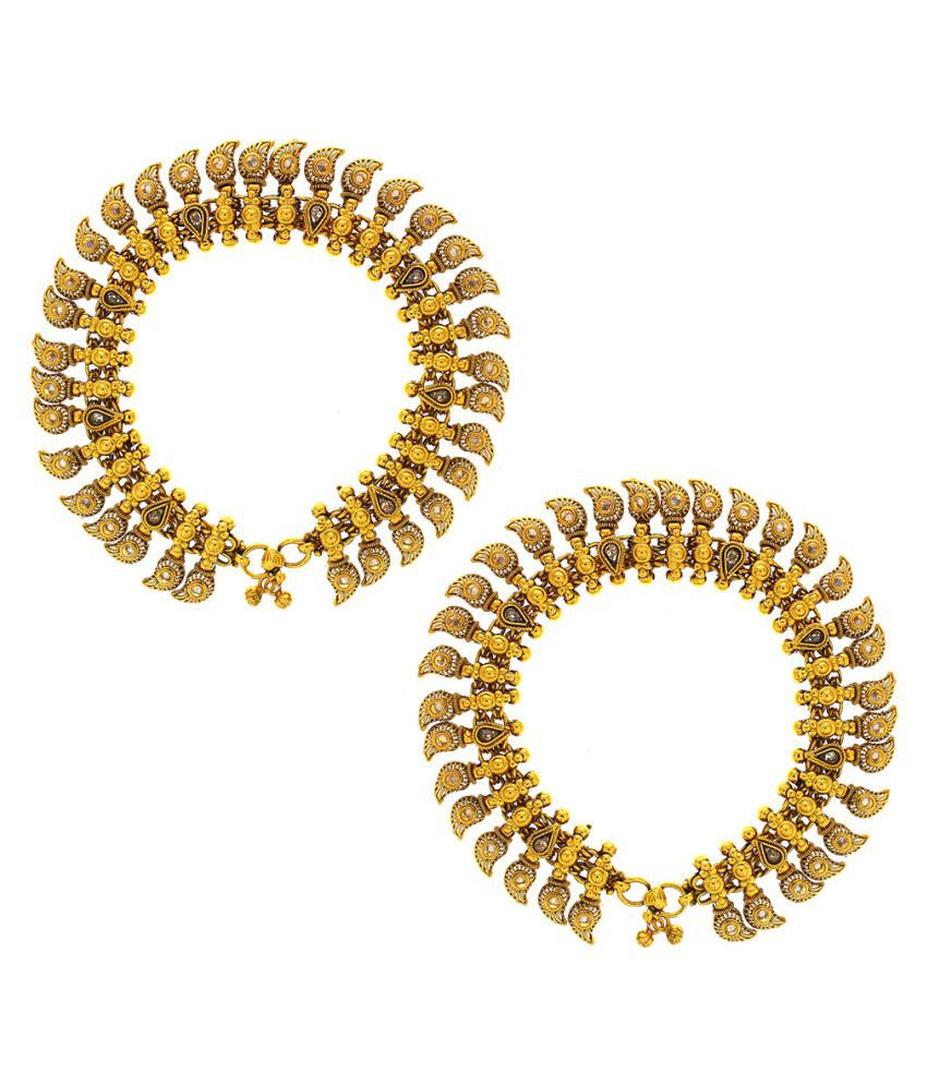 Anuradha Art Golden Finish Styled With Sparkling Stone Wonderful Very Fancy Designer Traditional Payal/Anklet For Women/Girls