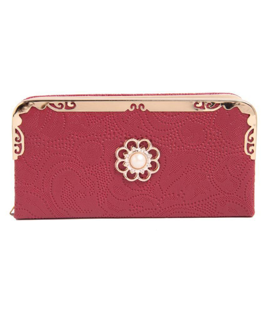 Fiona Trends Maroon Faux Leather Box Clutch