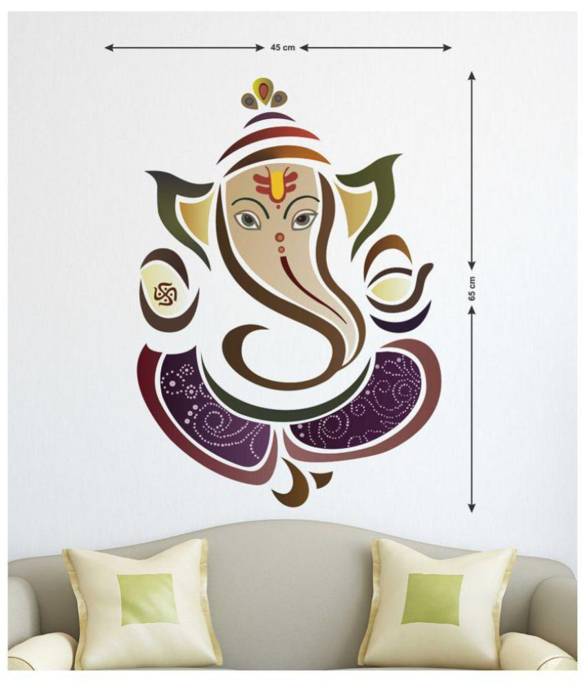 happysticky vinayagar lord ganesha pvc multicolour wall sticker