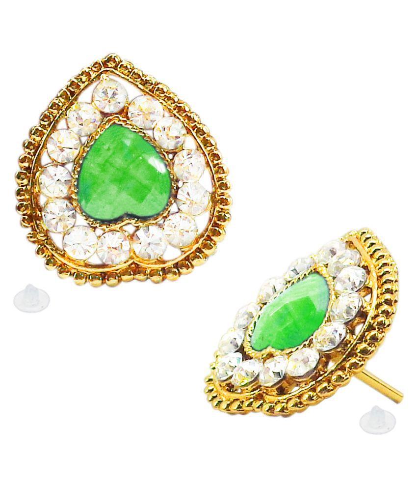 Slamay Fashion Gold Plated Green Heart Shape Stud Earrings Gift For Women