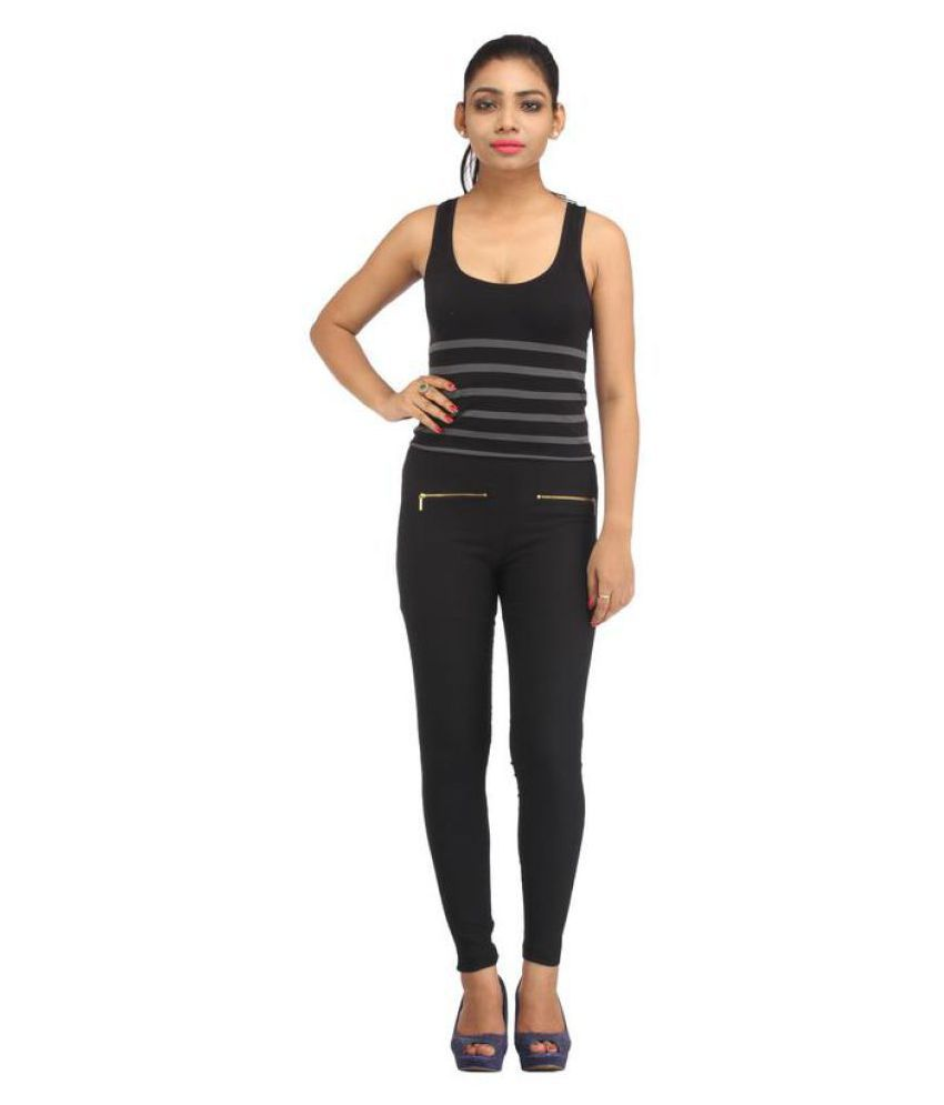 ARIVA Cotton Lycra Jeggings - Black