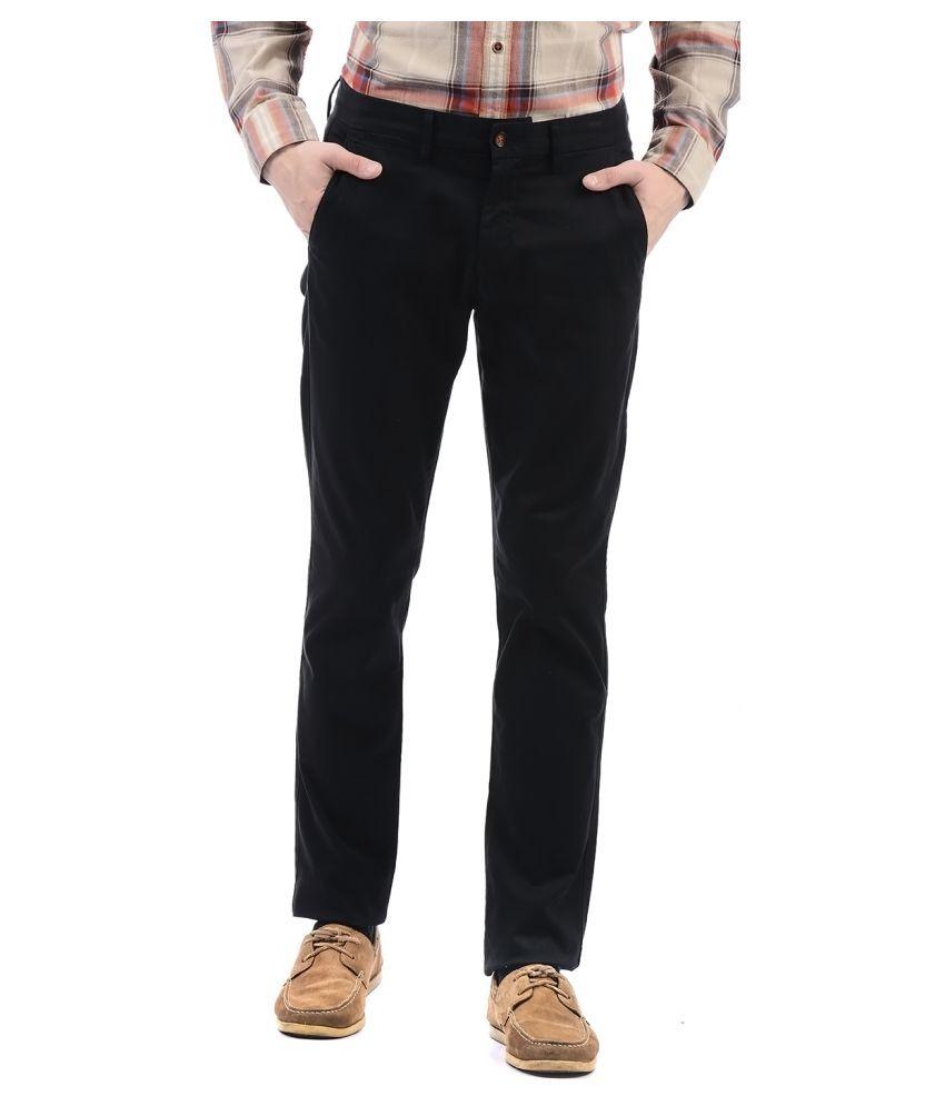Arrow Black Slim -Fit Flat Trousers