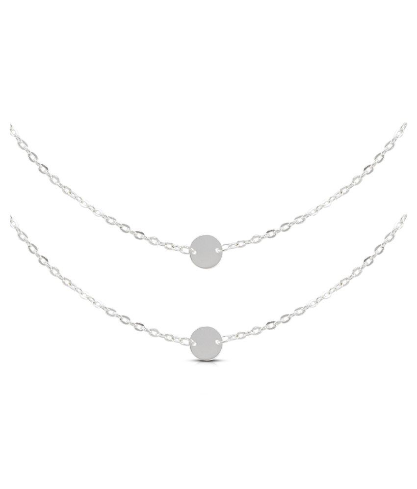 Diva Fancy Round Design White Plated Necklace With Chain