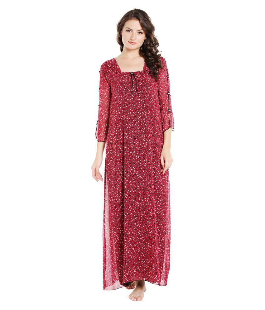 Sand Dune Chiffon Nighty & Night Gowns - Red