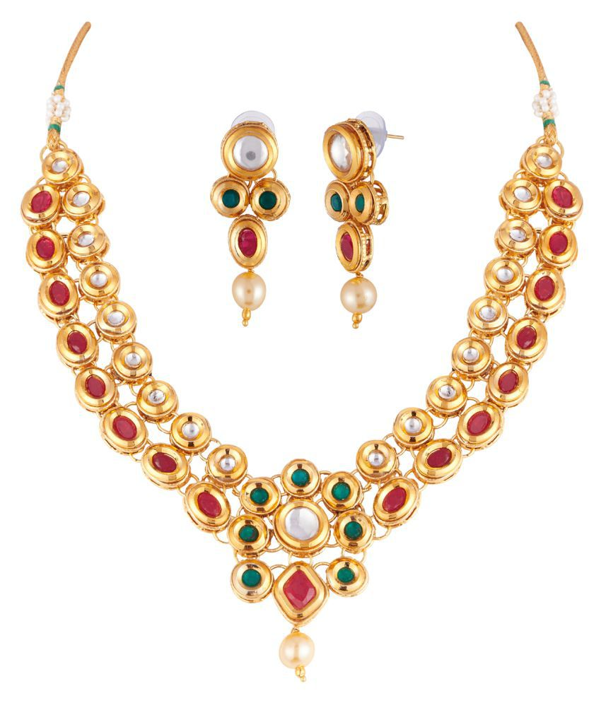 Apara Beautiful Design Multicolour Kundan Necklace Set For Girls/Women