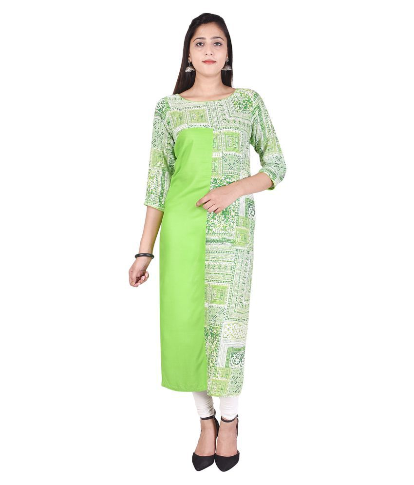 RHEA FASHION WORLD Green Cotton Straight Kurti